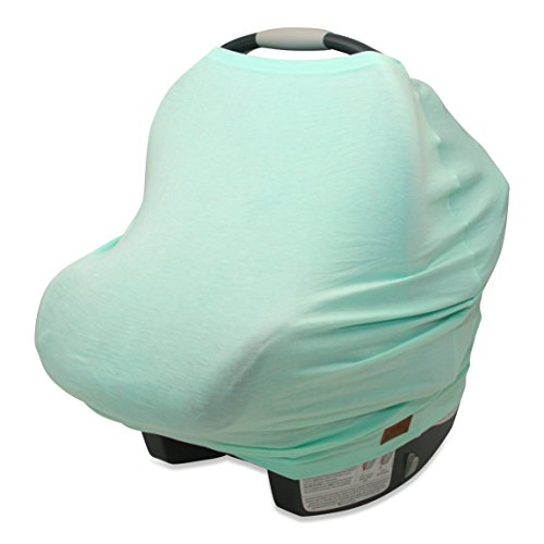 5-in-1 Carseat Canopy & Nursing Cover Up by Matimati Baby, Stretchy & Ultra Soft Breastfeeding, Car seat & Stroller, Shopping Cart Covers, Perfect Gift for Mom (Mint) (Mint Stroller)