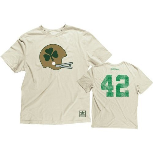 Notre Dame Irish NCAA Adidas ND Throwback Helmet Clover Shirt ()