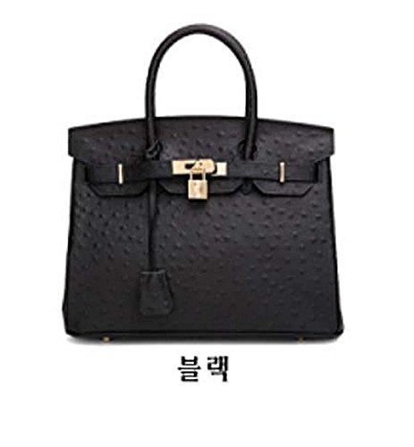 Birkin Ostrich Mn Bag Gold  Black  35Cm