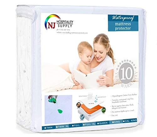Everest Mattress Protector Premium Cotton Terry Fitted Cover 100% Hypoallergenic, Waterproof (Sleeper Sofa Queen 60 x 72 +12)