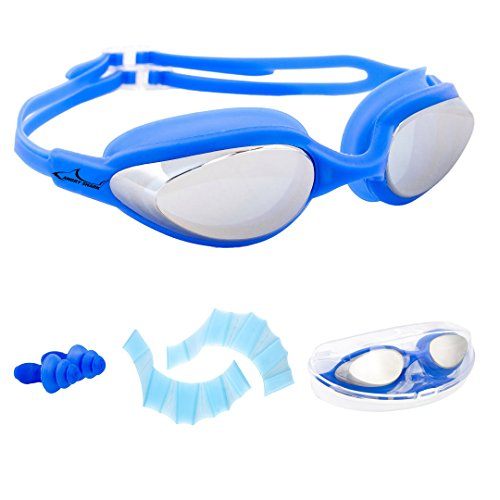 AngryShark Best Swim Goggles, Mirror Coated Lenses UV Protection No Leaking Anti Fog Triathlon Swimming Goggles with FREE Protection Case, Swim Gloves, Earplugs for Adult Men Women Youth Kids, Blue