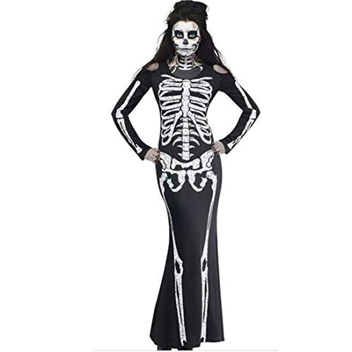 Festival Clothing Women Plus Size Ghost Costume Party Hippie Dresses Horror Skeleton Halloween -