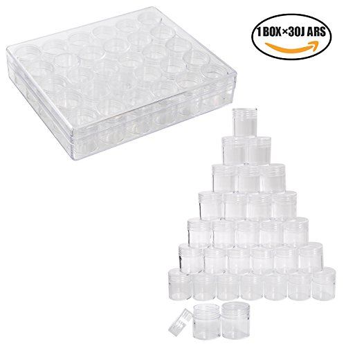 YUEAON Plastic Storage Containers Set Beads Box Organizer Transparent Bottles jars for jewelry small objects (1 box with 30 containers include) Bead Storage