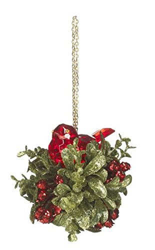 Kissing Krystals Classic Red Nesting Bird Christmas Ornament - By Ganz by ()