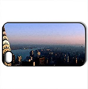 Birds Eye View of New York City - Case Cover for iPhone 4 and 4s (Modern Series, Watercolor style, Black) by icecream design