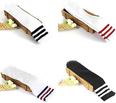 Lumsinker 4 Pairs Girls Knee High Socks Cotton Multicolored Long Stockings For 3-10 years