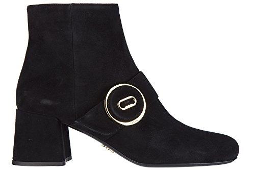 Prada Suede Heels (Prada Women's Suede Heel Ankle Boots Booties Black US Size 10 1T740H 008 F0002)
