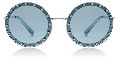 Valentino VA2010B 300665 Silver/Blue VA2010B Round Sunglasses Lens Category 1 ()