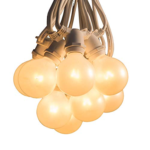 (Hometown Evolution, Inc. 50 Foot C9 Commercial Exterior Globe String Lights with 40 G50 2 Inch White Satin Bulbs (White Wire) for Weatherproof Heavy Duty Vintage Outside Lighting)