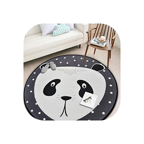 White Grey Cartoon Animals Bear Fox Panda Round for Living Room Bedroom Home Decor Carpet Rug Children Kids Soft Play Mat,Burgundy,Diameter 80cm