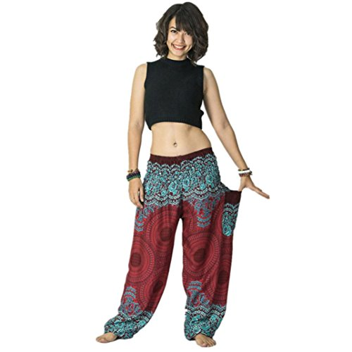 - Ladies Short Fashion Thai Harem Trousers Boho Festival Hippy Smock High Waist Yoga Women Pants Dress (One Size, Wine)