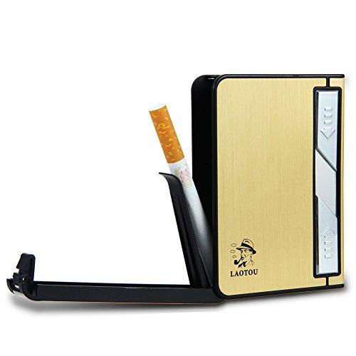 Padgene Cigarettes Case Box USB Lighter Electronic Flameless Windproof Built-in Lighters Box Holder for Men