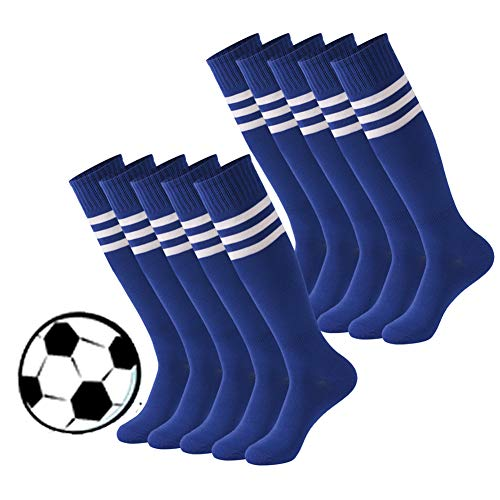 Calbom Rugby Football Socks, Unisex Assorted Colorful Patterned Chic Comfy Knee High Tube Soccer Socks Pack of 10 Blue Size 7-9