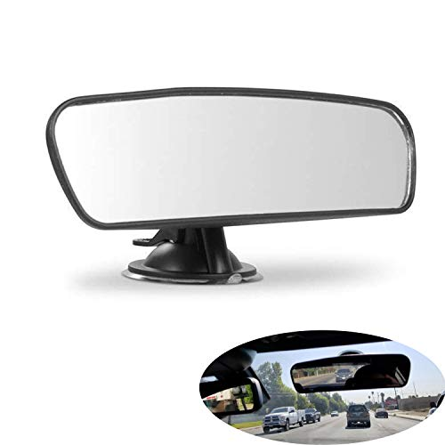 (PME Rear View Mirror, Universal Car Truck Mirror Interior Rear View Mirror Suction Cup Rearview Mirror... (Plain Mirror, Width 21.5cm/8.5in))