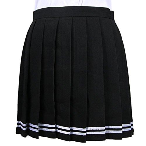 amp;L Couleurs Jupes Unies Filles Uniforme Mini Ligne Femmes l'cole blanc bandes en Noir Haute Y Jupe Taille plisses qwCpdqx