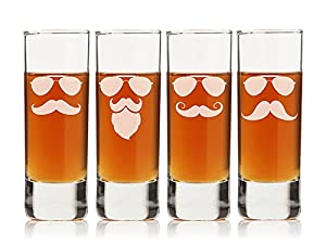 "Chloe and Madison ""Mustache & Sunglasses"" Shot Glass, Set of 4, Tall"