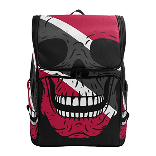 CANCAKA Backpack Skull Flag Trinidad Tobago Isolated On Lightweight Travel Bag Hiking Knapsack College Student School Bookbag Travel Daypack for men women ()