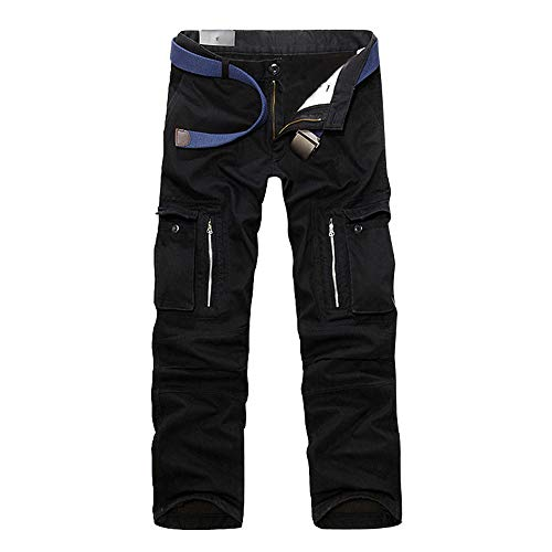 uomo Lungo Nero Moda Pantaloni Uomo Abbigliamento Casuale Multi pocket All'aperto Cotone Carico wpxfU5xq