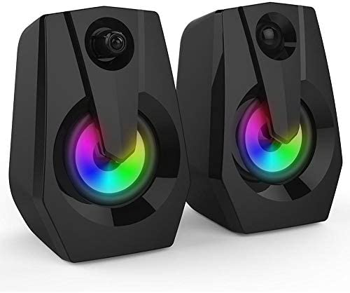 Richer-R Multimedia Speaker Bass Stereo Pc Audio system with LED Colourful Lighting Double Horns,Desktop Speaker Pc Speaker Powered by USB,with 3.5mm Audio Interface