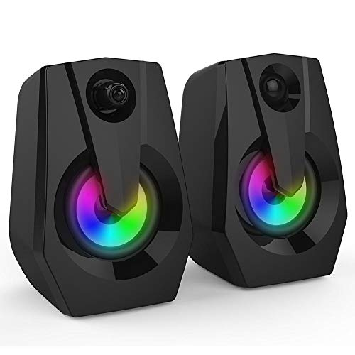 Wendry USB Wired Bookshelf Speakers, Multimedia Speaker Bass Stereo Computer Speakers with LED Colorful Lighting Double…