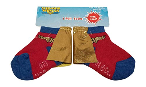 Wonder Woman Infant Baby Cape Socks 1 Pair 0-6 - Woman Wonder Socks Cape