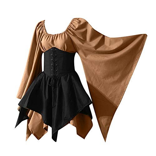 Awesome Guys Halloween Costumes (Aniywn Halloween Women Medieval Cosplay Costumes Gothic Retro Dress Plus Size Long Sleeve Corset Dress)