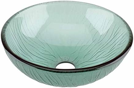 Above Counter Vessel Tempered Glass Sink With Drain Frosted Green Mini Bowl