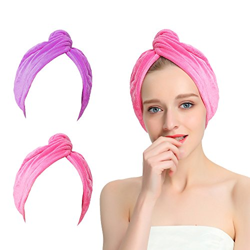 Microfiber Hair Turban (AuroTrends Microfiber Hair Towel Turban Large Wrap Turban Cap 2 Pack- Ultra Absorbent Drastically Reduce Hair Drying Time(2 Pack Peachblow & Purple))