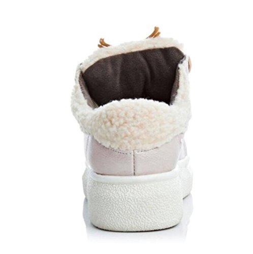 Low Vorne Künstliche Winter Dicken Lace 40 Damen Schuhe BOTXV Heels Schuhe Frauen Größe Große Kaschmir und Halten Tiefem Herbst 43 Frauen Boden Warm up Mund YafqxwIwE