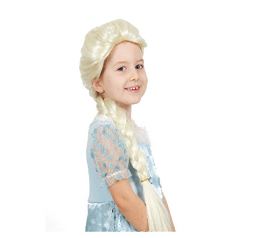 Frozen Snow Elsa Child Cosplay Wig High Quality Synthetic Hair Light Blonde Color