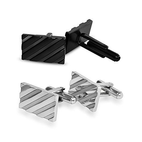 Cufflinks for Mens Shirt -Stainless Steel Fashion Jewelry Set comes with case. Designer custom stud cufflink with box holder, Perfect for groomsmen gifts, all men, and tie bars. Better than sterling silver, gold, brass, and copper (Black and Silver)