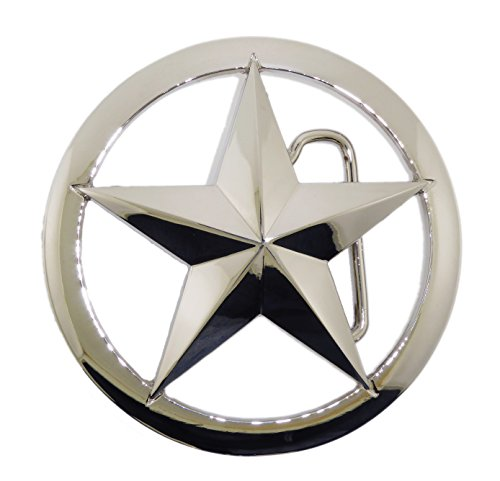 (Lone Star Belt Buckle State Texas US Sheriff Badge Trooper Silver Chrome Metal)