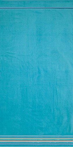 Crystal Emotion Hampton Stripes Solid Turquoise Brazilian Jacquard Velour Pool Beach Towel Bath Towel Wrap For Beach Body,Gym,Spa,Home,Hotel Use