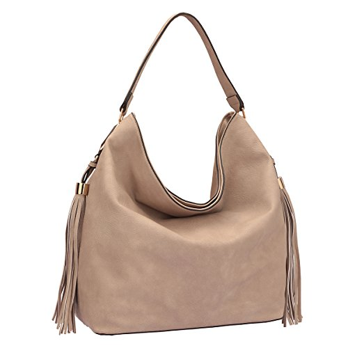 Dasein Fringe Studded Faux Leather Hobo Bag - Stone Lined Suede Shoulder Bag