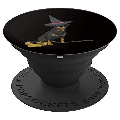 Rottweiler Halloween Shirt Funny Dog Witch T-shirt Costume PopSockets Grip and Stand for Phones and Tablets -