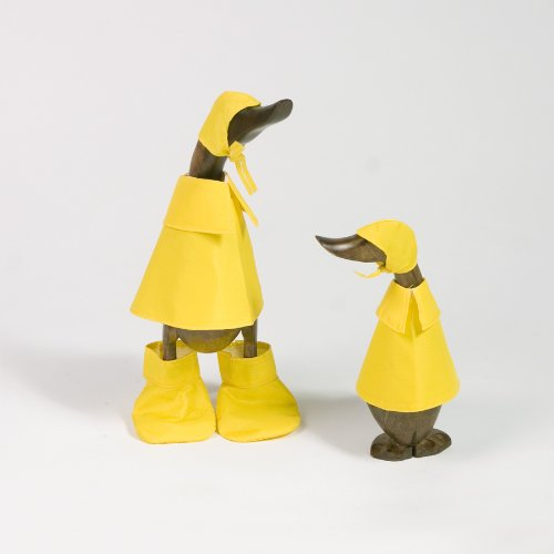 Bamboo Rain Duck Family Set of 2, Natural Hand Carved Bamboo Root Wood Raincoat Duck Figure Statue, Indoor/Outdoor Garden Decor Ornament, Unique Gift Idea by Garden Age Supply (Image #3)