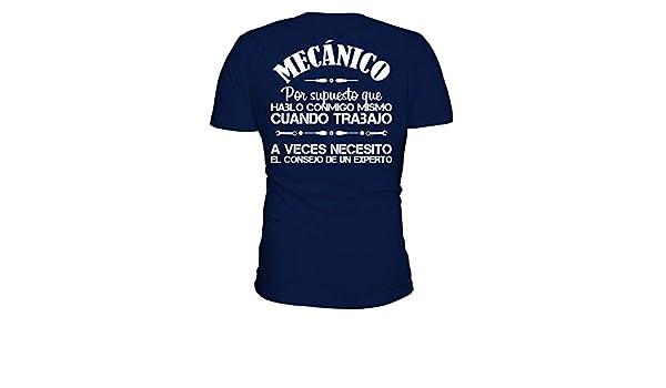 TEEZILY Camiseta de Pico Hombre Mecánico: .Necesito el Consejo de un Experto - Azul Marino - L: Amazon.es: Ropa y accesorios