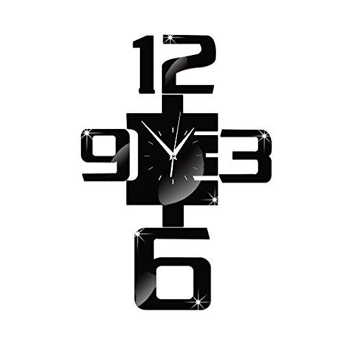 JOE&FEI Wohnzimmer Sofa Hintergrund Wand Uhr Spiegel Wanduhr Quarz Wand Uhr digital ID Technologie Kinderzimmer Dekoration der Zimmer Dekorationen und kreative Umwelt Stereo Mute DIY Aufkleber Wanduhr , black