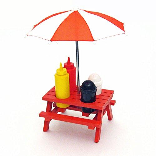 DEI Back Yard Umbrella picnic table Shaped Mustard Ketchup Salt & Pepper shaker Condiment caddy Set 13.5