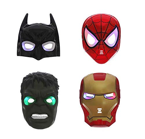 Astra Gourmet LED Glowing Super Hero Masks - Set of 4 Spiderman Iron Man Hulk Batman Party Cosplay Halloween Mask Toy