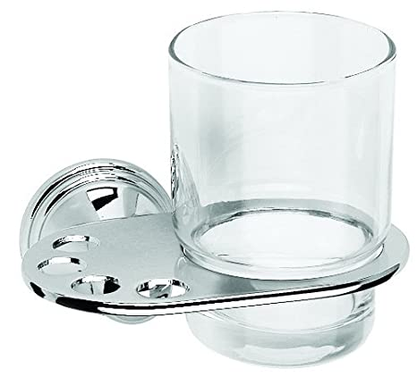 2X Croydex Westminster Chrome /& Glass Toothbrush and Tumbler Holder
