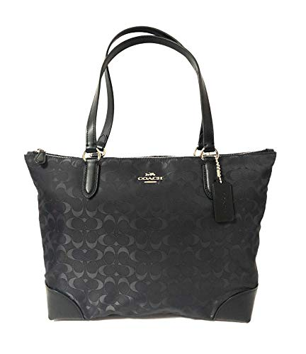 Coach Signature Zip Tote Shoulder Handbag (SV/Black)