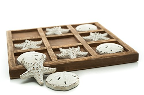 "Nautical Crush Trading Table Top Tic-Tac-Toe Board Game | 9"" x 9"" Wood Board Game with Resin Starfish and Sand Dollars w/Blue Drawstring Bag 