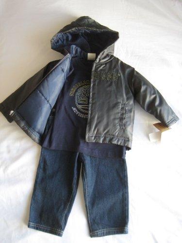 Timberland Infants Boy 24 Months Puffer Jacket, Cap, Long Sleeve shirt and Jean