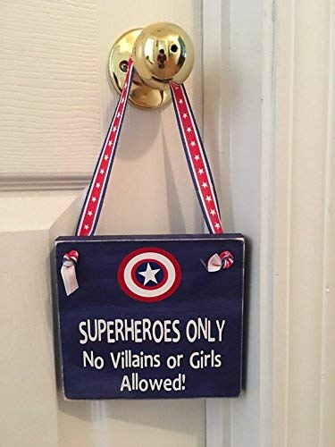 Superheroes Only No Villains or Girls Allowed Captain America Wooden Door Sign Little Boy's Room Nursery]()