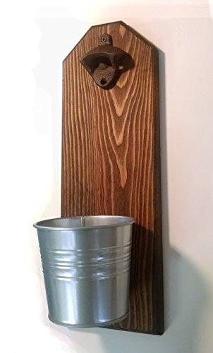 Bottle Opener and Cap Catcher. Handmade by a Vet. Made of Solid Pine. Rustic cast iron bottle opener and galvanized bucket. To empty, twist the bucket! Great Gift!