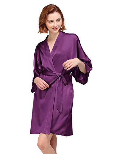 AW Satin Robe Short Kimono Birdesmaid Robes Women Bathrobe Soft Sleepwear Loungewear Spa Robe, Purple L -