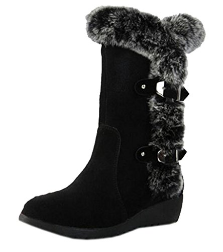 Snow Fur Warm Womens Boots Lined Buckle Suede DADAWEN Mid Black Calf x4RpqX8nYw