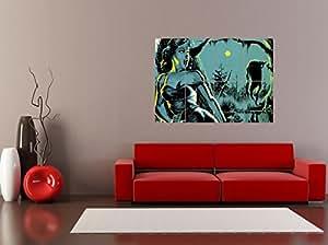 PANEL ART PRINT PAINTING HORROR SCENE MONSTER STALKER FOREST MOON SCREAM REPRODUCTION POSTER OZ3672