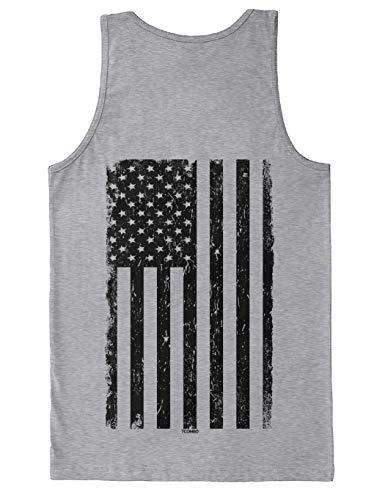 Distressed Black USA Flag - United States Men's Tank Top (Light Gray - Back Print, X-Large)